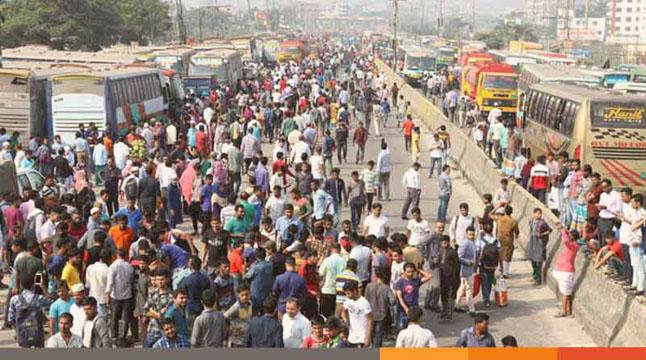 ঢাকা-চট্টগ্রাম-সিলেট মহাসড়কে যান চলাচল বন্ধ, যাত্রী দুর্ভোগ চরমে